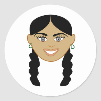 Mixed Girl Round Sticker
