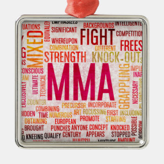 Mixed Martial Arts or MMA as a Grunge Concept Silver-Colored Square Decoration