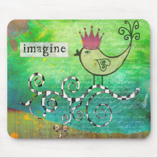 Mixed Media Altered Art Collage Imagine Mousepad