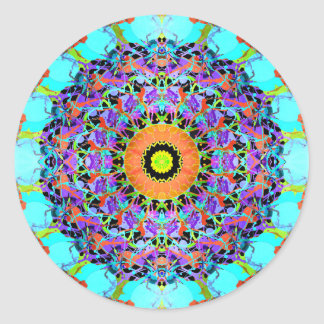 Mixed Media Concentric Symmetry Round Sticker