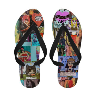 MIXED MEDIA FLIP FLOPS WITH BLACK STRAPS