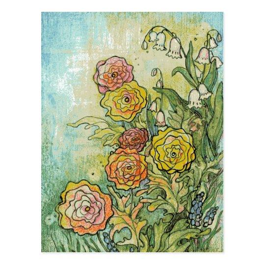 Mixed Media Garden Flowers Postcard