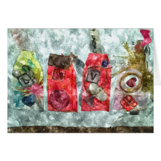 Mixed Media Valentine Elegant Love Fancy Red Gold Note Card