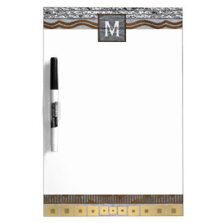 Mixed Metals Monogram School Or Office Bling Dry-Erase Whiteboards