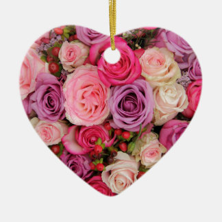 Mixed pink roses by Therosegarden Ceramic Heart Decoration