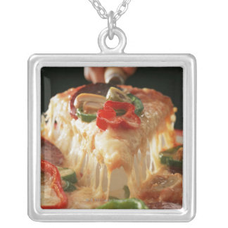 Mixed Pizza Silver Plated Necklace