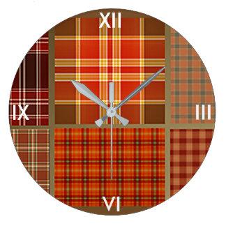 Mixed Plaids Large Clock