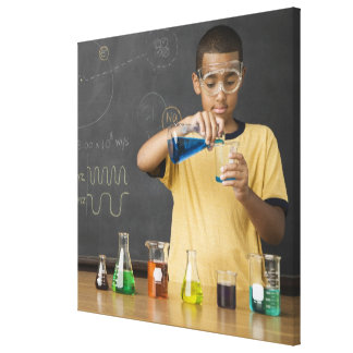 Mixed Race boy in science class Stretched Canvas Prints
