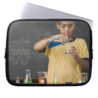 Mixed Race boy in science class Laptop Sleeve