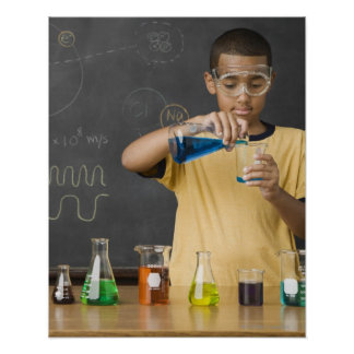 Mixed Race boy in science class Poster