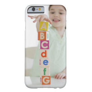 Mixed race girl stacking alphabet blocks barely there iPhone 6 case