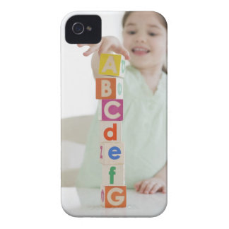 Mixed race girl stacking alphabet blocks iPhone 4 Case-Mate case