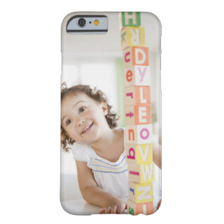 Mixed race girl stacking blocks barely there iPhone 6 case