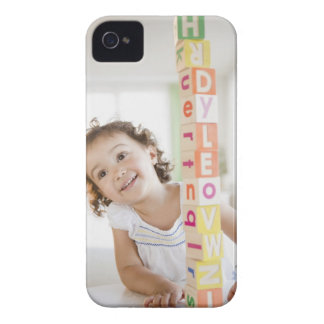 Mixed race girl stacking blocks Case-Mate iPhone 4 case