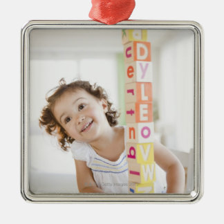 Mixed race girl stacking blocks Silver-Colored square decoration