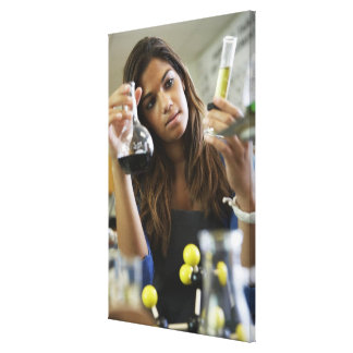 Mixed Race teenaged girl in science class Gallery Wrapped Canvas