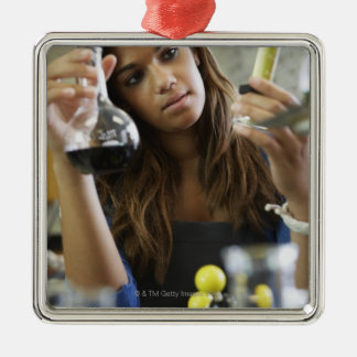 Mixed Race teenaged girl in science class Christmas Ornament