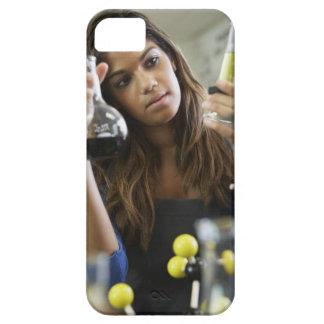 Mixed Race teenaged girl in science class iPhone 5 Cases