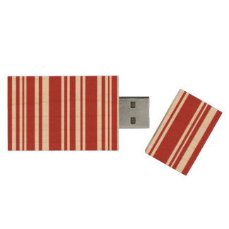 Mixed Red Stripes on Natural Wood Wood USB Flash Drive