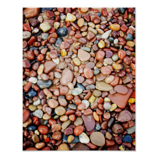 Mixed Rocks Red Stone Lakeshore Poster Print