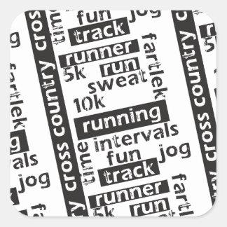 Mixed Run Runner Theme Square Sticker