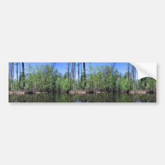 Mixed trees at edge of pond in Muscatatuck Nationa Bumper Sticker