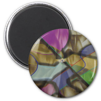 Mixed Up Colorful Abstract 6 Cm Round Magnet