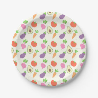 Mixed Vegetable Pattern 7 Inch Paper Plate