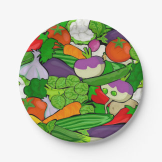 Mixed vegetables 7 inch paper plate