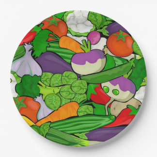 Mixed vegetables 9 inch paper plate