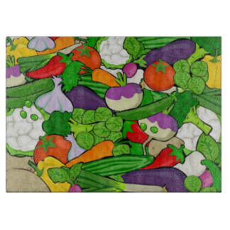 Mixed vegetables cutting board