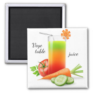 Mixed vegetables juice square magnet