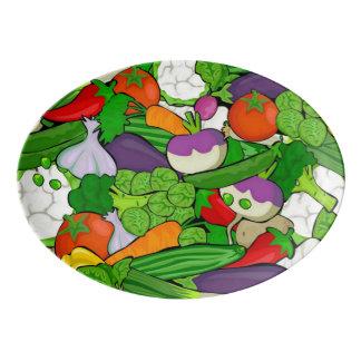 Mixed vegetables porcelain serving platter