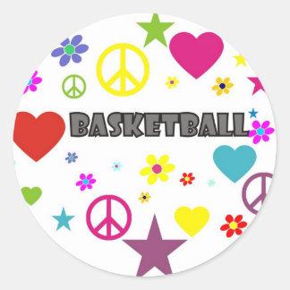 mixedgraphics-basketball. classic round sticker