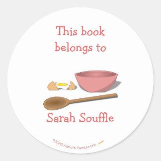 Mixing Bowl Custom Cookbook Bookplate Template Round Sticker