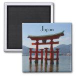 miyajima torii japan square magnet