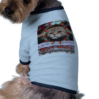 Mjaurry Christmas, cat in merry x-mas mood print Dog Tee Shirt