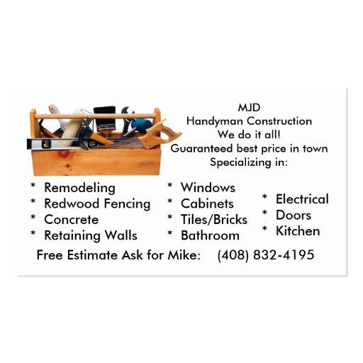 Premium Construction Business Card Templates Page - Free construction business cards templates