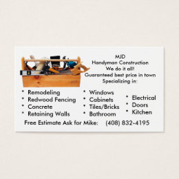 Windows construction business cards business card printing zazzle uk mjd image 2 mjdhandyman constructionwe do it a business card reheart Choice Image