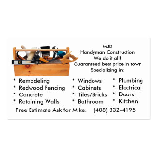 MJD image 2, MJDHandyman ConstructionWe do it a... Pack Of Standard Business Cards
