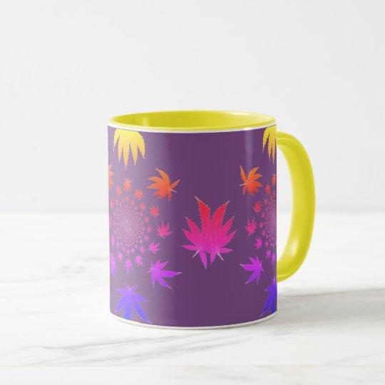 MKFMJ Kaleidoscope Marijuana Leaf's Mug