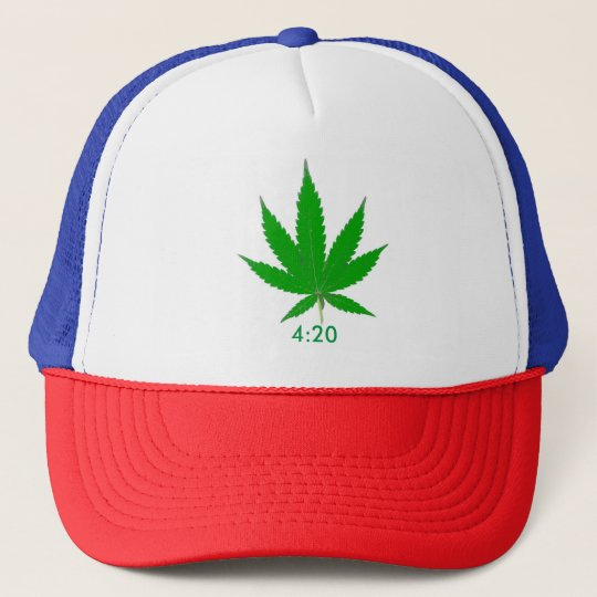 MKFMJ Marijuana Leaf' 4:20 Trucker Hat