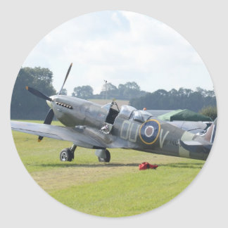 MkIX Spitfire At Rest Classic Round Sticker