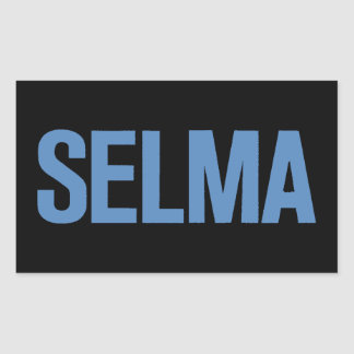 MLK Day-Selma Blue on Black Rectangular Sticker