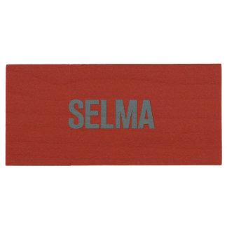 MLK Day-Selma Blue on Red Wood USB 2.0 Flash Drive