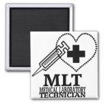 MLT HEART SYRINGE MEDICAL LAB TECH LOGO SQUARE MAGNET