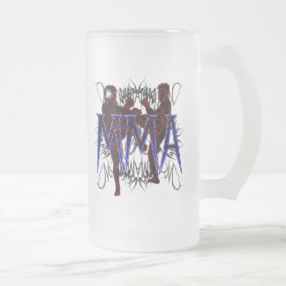 MMA Fighters Frosted Beer Glass Frosted Glass Mug