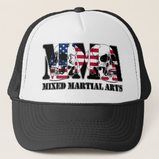 MMA Mixed Martial Arts Japan Flag & Skulls Trucker Hat