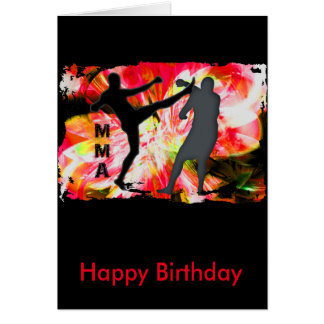 MMA Silhouettes in Red Explosion Greeting Card