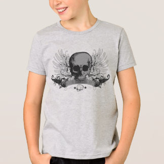 MMA Skull montage boys shirt - gray